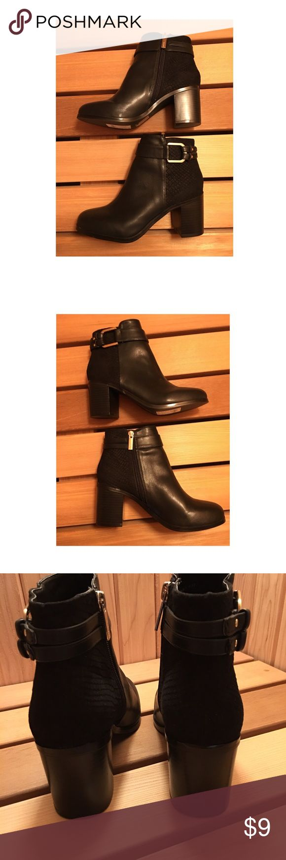 "Ladies Black Ankle Boots, Block Heel, Size 6.5 Ladies Black Ankle Boots, Gold Buckle & inside Zipper, Block Heel, Size 6.5, 2.5"" heel Top Shop Shoes Ankle Boots & Booties"