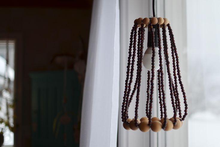 DIY Lampskärm av träkulor