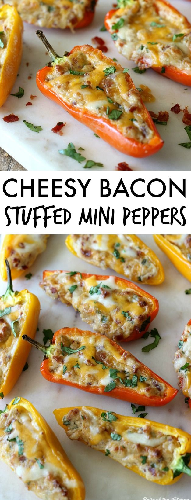 Cheesy Bacon Stuffed Mini Peppers. Make this dairy free by using df cream cheese. Yum!