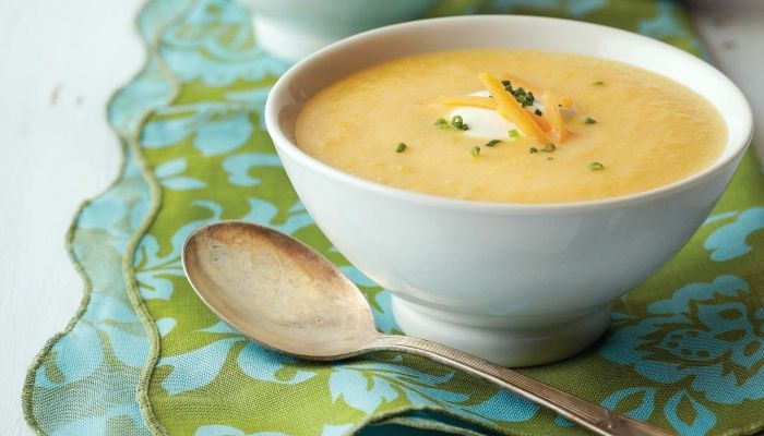 squash soup with apple and cheddar http://gustotv.com/recipes/soups/squash-apple-cheddar-soup/
