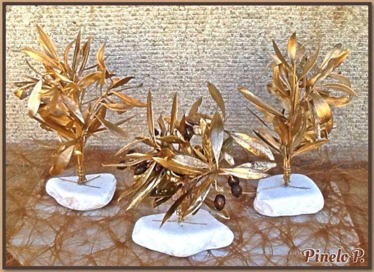 Golden olive trees on white stone! www.facebook.com/pinelokallitexnimata