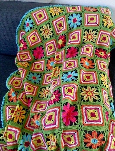 uzor-pled: Crochet Blankets, Crochet Ideas, Crochet Granny, Crafts Ideas, Flowers Crochet, Crochet Afghans, Flowers Patterns, Vans Ate, Granny Squares