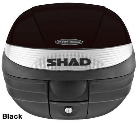 "Shad SH-29 motorcycle top case in black. Designed to attach to most flat luggage racks. Its dimensions are: 14.9"" L x 15.7"" W x 11.8"" H   and has a 29 liter capacity. Your price is $90.00."