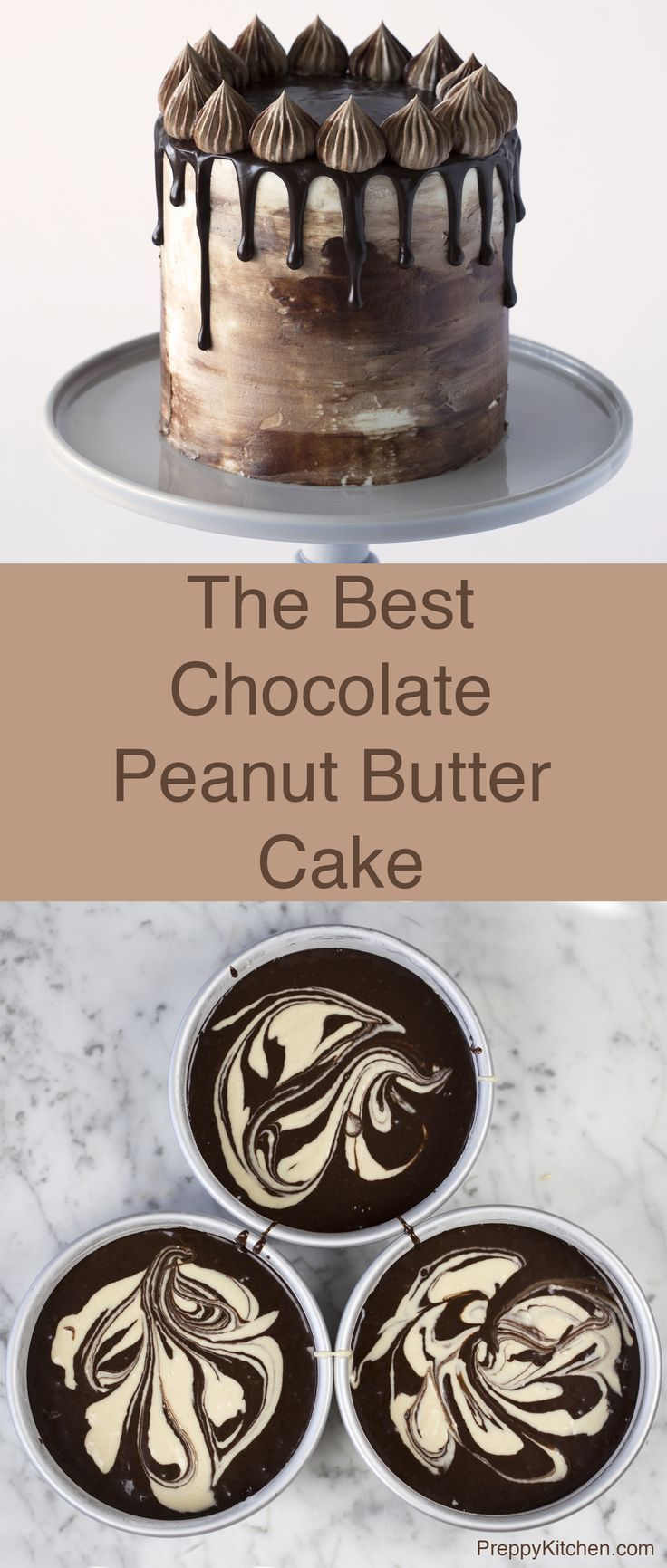 This chocolate cake is marbleized with a peanut butter batter, covered in Italian Buttercream and topped with a beautiful ganache. Click over for the full recipe on the blog.