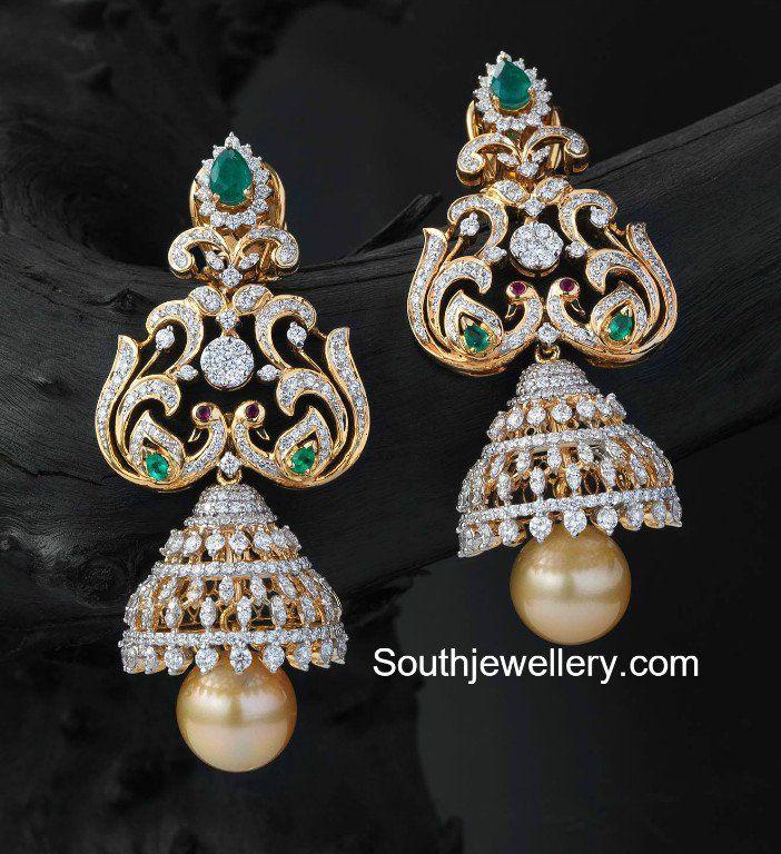 Peacock Diamond Jhumkas