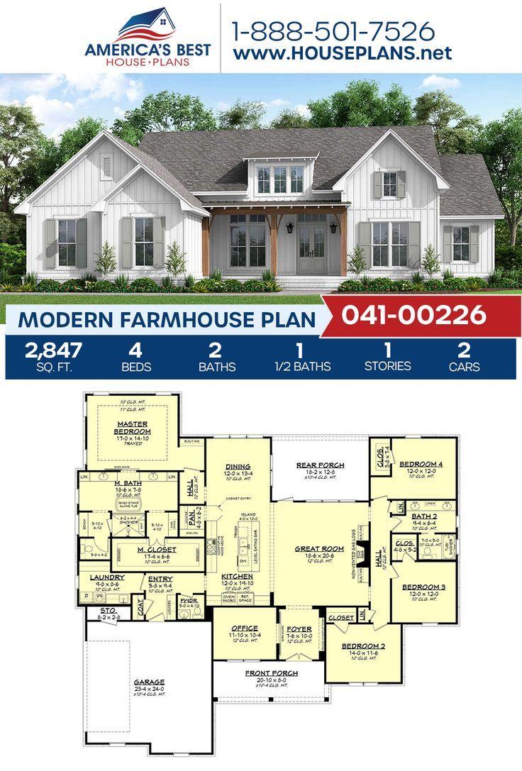 House Plan 041 00226 Modern Farmhouse Plan 2 847 Square Feet 4 Bedrooms 2 5 Bathrooms In 2020 Modern Farmhouse Plans House Plans Farmhouse Farmhouse Plans