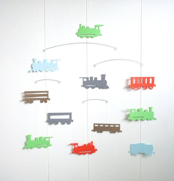 Train Engines Wagons Mobile • Grey, Brown, Orange, Green and Blue •  train hanging mobile • steam engine • baby crib nursery • nordic scandinavian style • infant child room • baby shower gift l• ocomotive railroad• toddler room • custom color • bedroom ceiling paper art