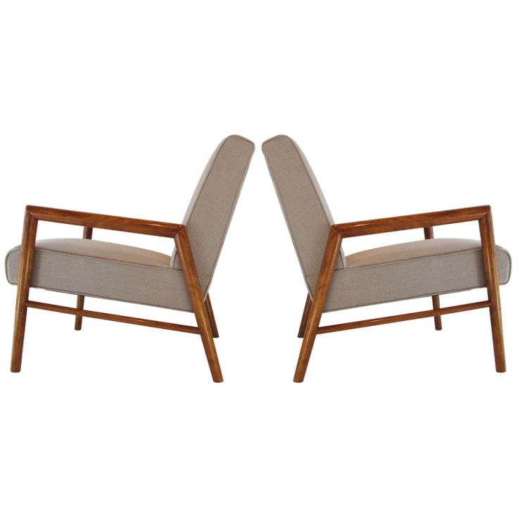 T. H.Robsjohn Gibbings Lounge Chairs in Linen and Maple. Pair of solid rock maple arm lounge chairs by TH Robsjohn Gibbings c.1954 in new Irish linen. Manufactured by Widdicomb.