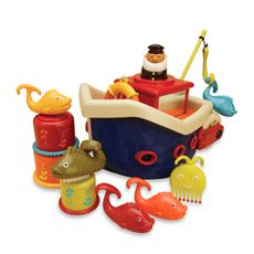 B. Fish & Splish Bath Boat    These 13 toys are ready for an expedition. Includes a floating boat, captain, life preserver, fishing hook and four ready-to-catch fish, three nesting cups, octopus comb and whale nailbrush. After the fun, everything stores below deck.