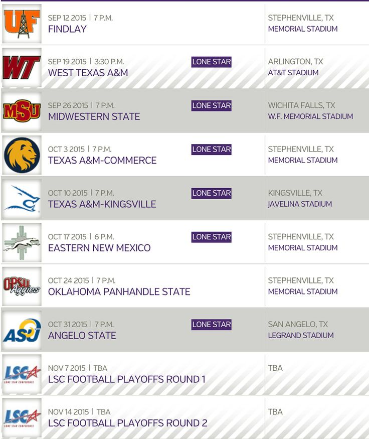 2015 Tarleton Texan Football Schedule