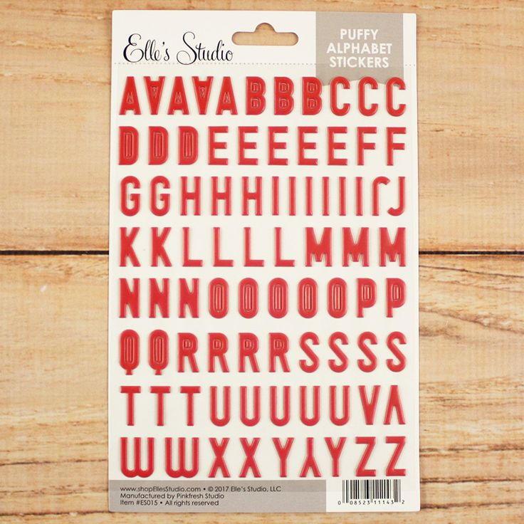 Pink Puffy Alphabet Stickers by Elle's Studio - perfect for scrapbook layouts, Project Life pocket pages, and more!