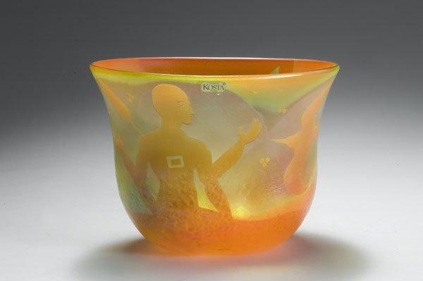Bertil Vallien (Swedish, 1938), Cased Glass Bowl with Sand Blasted Decoration.
