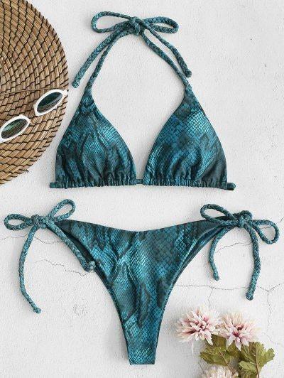Snake Print Braided String Bikini Set BRIGHT YELLOW MULTI RED WINE