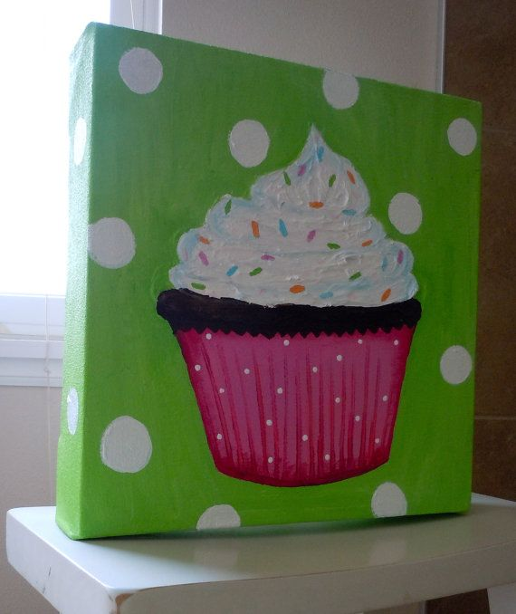 Cute pink and white cupcake canvas