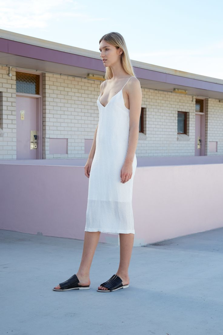 THIRD FORM RESORT 16 COLLECTION | RIP TIDE CAMI DRESS #thirdform #fashion #streetstyle #minimalism #chic #trend #dress #white
