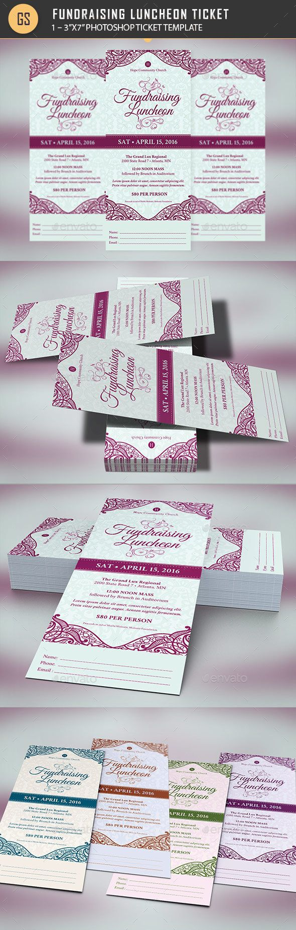 Fundraising Luncheon Ticket Template PSD. Download here: https://graphicriver.net/item/fundraising-luncheon-ticket-template/16709104?ref=ksioks