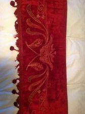 Antique Victorian Edwardian Embroidered Fire Scarf Silk Velvet Valance Pelmet