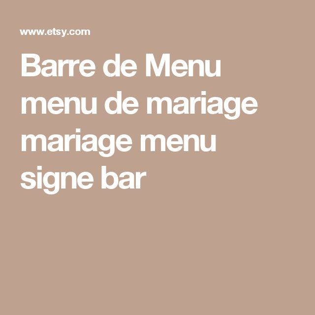 Barre de Menu menu de mariage mariage menu signe bar