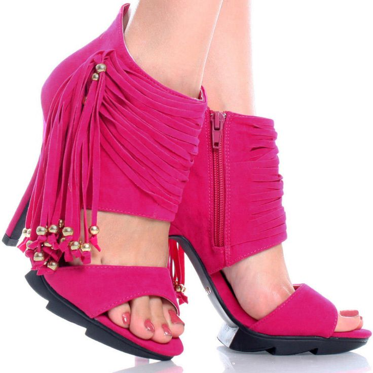 Pink-Suede Beads Fringe Open Toe Womens Platform High Heel Ankle