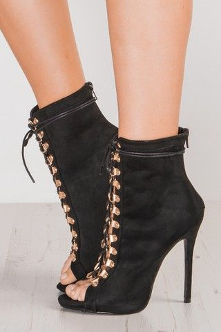 Jenny Black Suede Lace Up High Heels