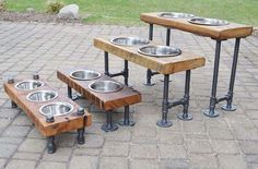 DIY dog food bowls on rustic pipe stand - Tap the pin for the most adorable pawtastic fur baby apparel! You'll love the dog clothes and cat clothes! <3