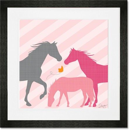 @rosenberryrooms is offering $20 OFF your purchase! Share the news and save!  Modern Horses - Pink Framed Art Print #rosenberryrooms