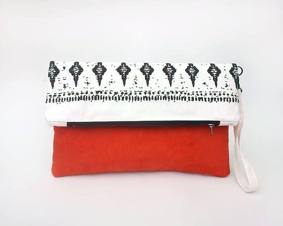 Faux leather clutch bag, Fold over clutch bag, Pochette, Tribal handbag, Summer bag wristlet, Sac ete, Foldover bag, Boho zipper clutch