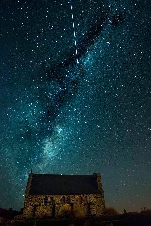 #newzealand #nz #space #sky #milkyway #stars #church #god #shepherd #fallingstar