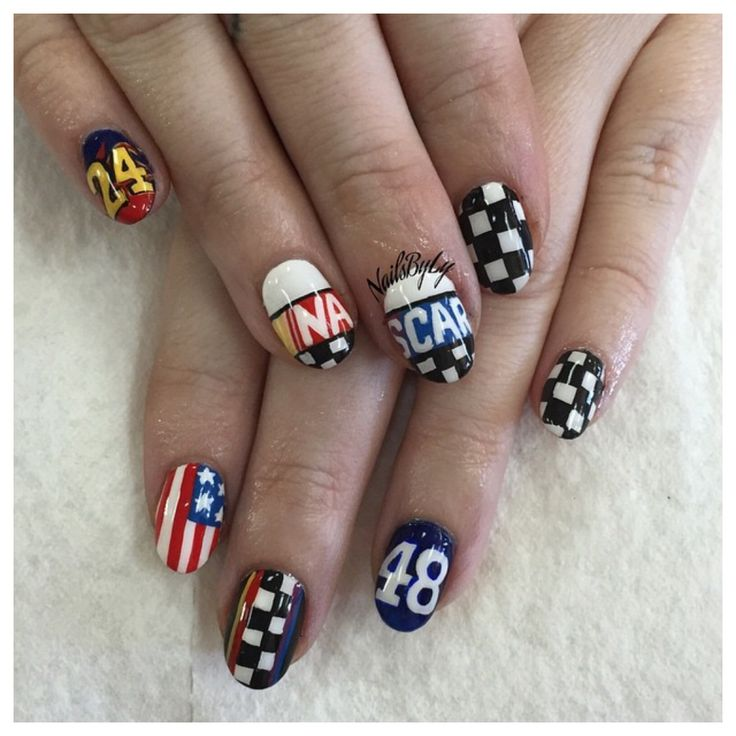 NASCAR nails , nail art Inspiration for next week in New Hampshire - 31 Best RACE DAY NAILS Images On Pinterest Nascar Nails, Make Up