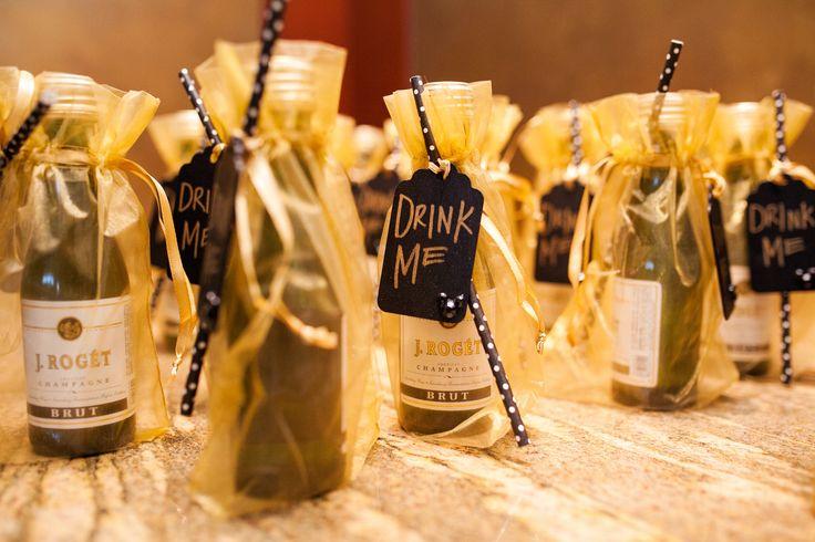 Alice In Wonderland Inspired Drink Me Champagne Favors At A Disneyland Wedding