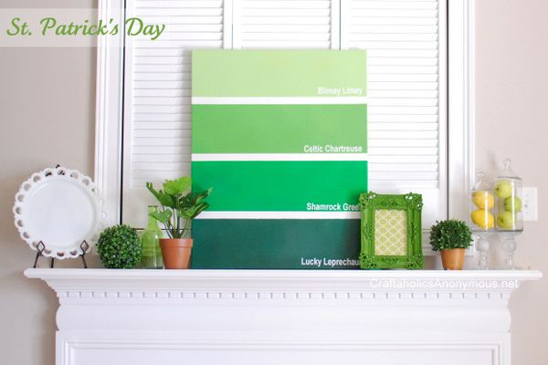 St. Patrick's Day Mantel   Paint Chip Canvas TUTORIAL on http://www.craftaholicsanonymous.net: Chip Canvas, Decor, Canvasart Paintchips, Craft, Paint Chips, St. Patrick'S Day, Tutorial, Patricks