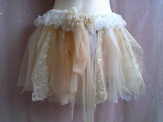 Woodland Tutu, Fairy Mori Tutu, Woodland Skirt, Ivory -6994
