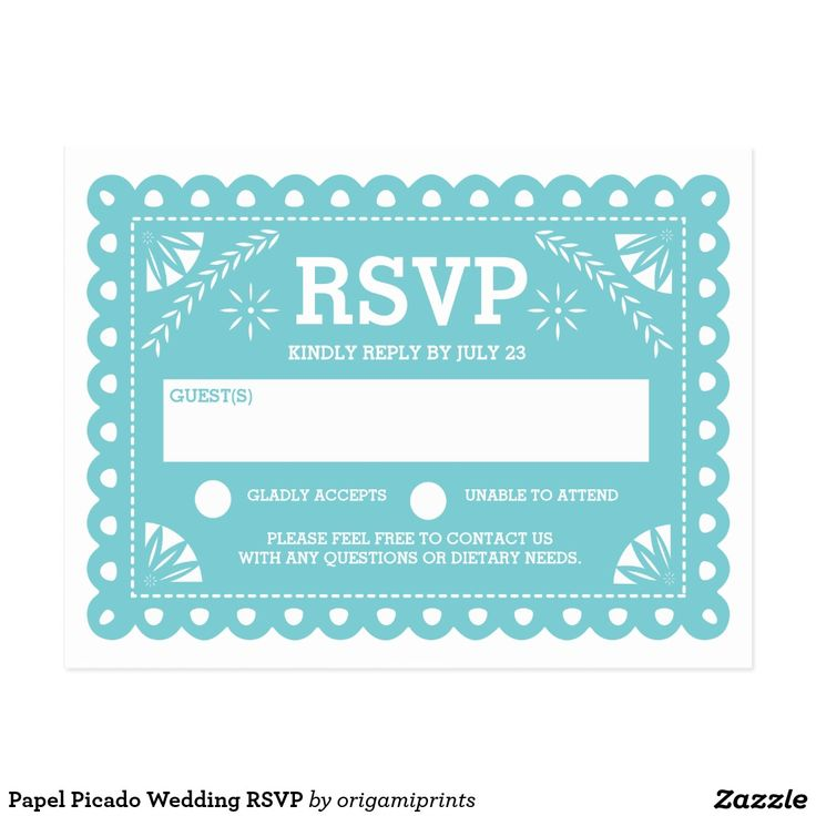 Papel Picado Wedding RSVP Postcard Modern papel picado spanish paper flag design by Shelby Allison. For matching invitations, reply cards, stickers and other items click on the link below to view the entire Papel Picado Collection.