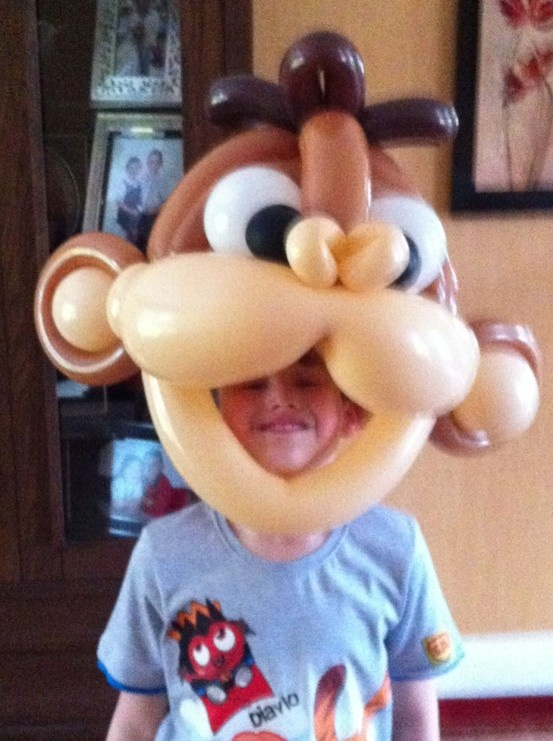 Monkey mask from my balloon show #balloon costume #balloon mask #costume balloon sculpture