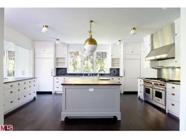 Hicks Pendants Gold Brass Detail In Classic White Kitchen