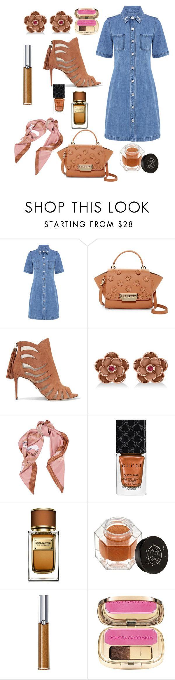 """Jean dress"" by blumbeeno ❤ liked on Polyvore featuring Être Cécile, ZAC Zac Posen, Paul Andrew, Allurez, Moschino, Gucci, Dolce&Gabbana, Rituel de Fille and Giorgio Armani"