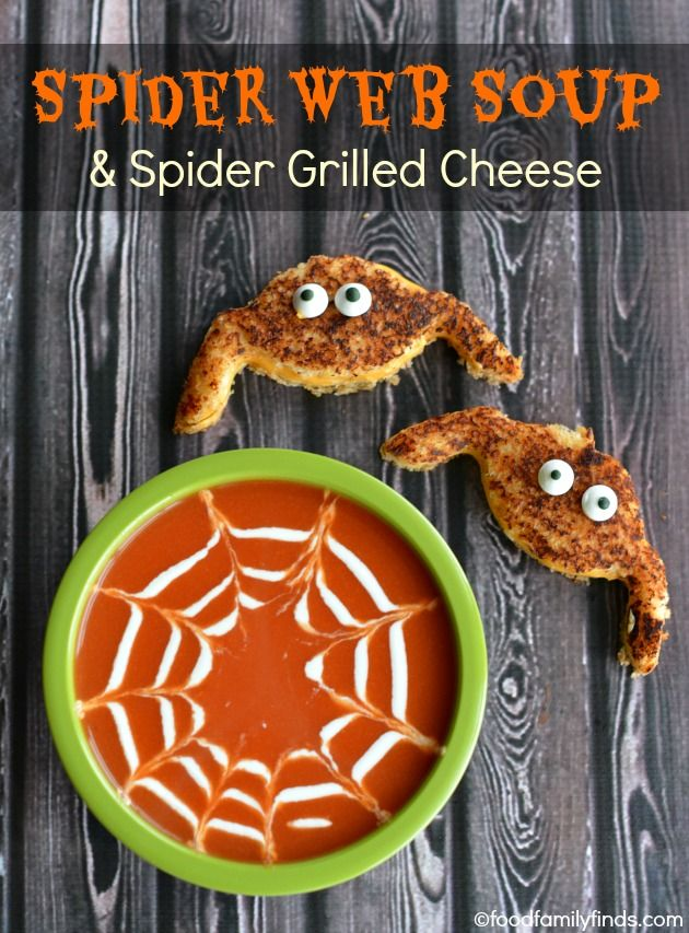 Spider Web Tomato Soup with Spider Shaped Grilled Cheese Sandwiches #MmGood #AskWisestKid #ad