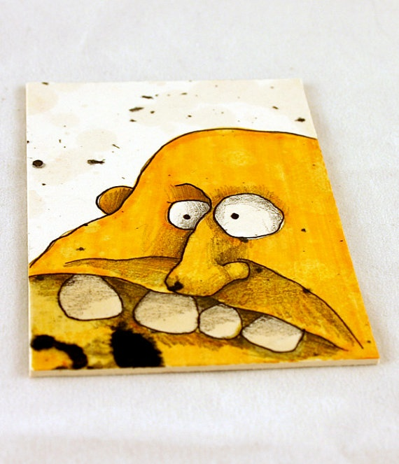 Yellow Monster Original ACEO by Aaron Butcher by Aaronbutcher, $5.00