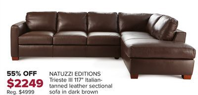 """Shared from Flipp: NATUZZI EDITIONS Trieste III 117"""" Italian- Tanned Leather Sectional Sofa In Dark Brown in the Hudson's Bay flyer"""