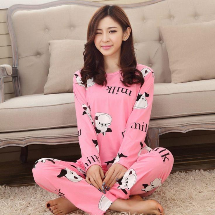 Autumn Women Pajamas Suits Indoor Cartoon Clothing Home Suit Sleepwear Long Sleeve Pyjamas Sets YP6