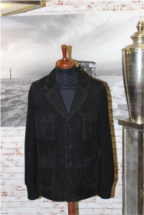 "Herrenblazer Lammvelour ""black"" mit Strickärmel"
