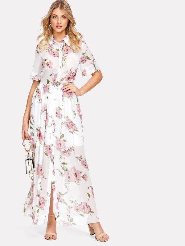 Shop Floral Print Shirt Dress online. SheIn offers Floral Print Shirt Dress & more to fit your fashionable needs.