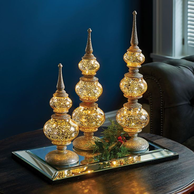 Lighted Antique Finials Set Of 3 Christmas Pinterest