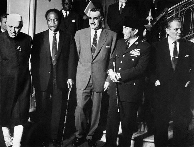 Five non-aligned leaders: Nehru of India, Nkrumah of Ghana, Nasser of Egypt, Sukarno of Indonesia, TIto of Yugoslavia. From http://xenohistorian.faithweb.com/seasia/