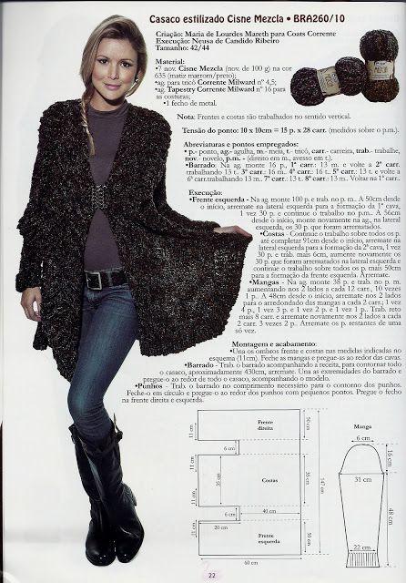 Receitas de Trico e Croche: Casaco estilizado Cisne Mezcla