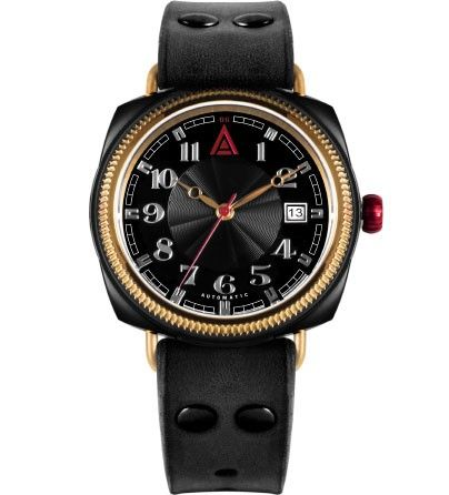 'No 1929' black British cushion luxury watch for men by W. T. Author available at www.wtauthor.com