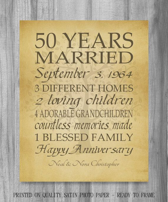 Anniversary Gift Golden 50 Years Personalized Print Family Tree Keepsake For Parents Customized Words