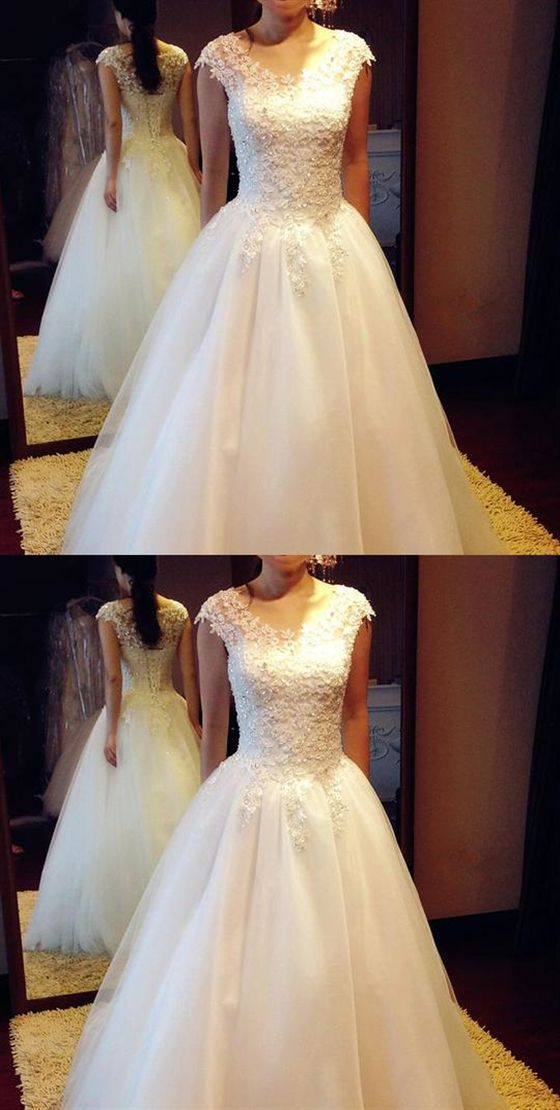 d75b6afc3d65eb White Round Neck Short Sleeves A Line Wedding Dresses Best Bride Gown   weddingdress  wedding