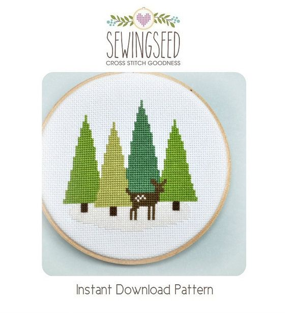 Cross Stitch Pattern Deer in the Forest Cross от Sewingseed