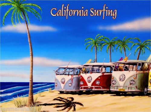 California-Surfing-VW-Van-Ocean-Beach-United-States-Travel-Advertisement-Poster